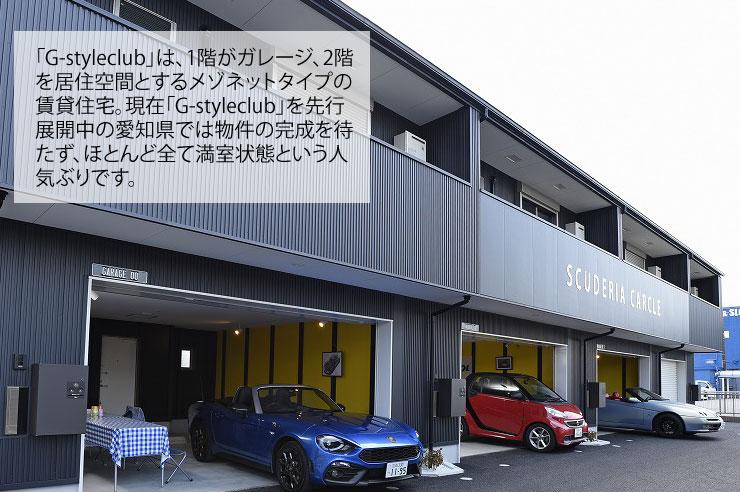 「G-style」は、1階がガレージ、2階を居住空間とするメゾネットタイプの賃貸住宅。現在「G-style」を先行展開中の愛知県では物件の完成を待たず、ほとんど全て満室状態という人気ぶりです。
